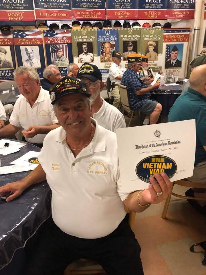 Vietnam Veteran with Pin and DAR Certificate